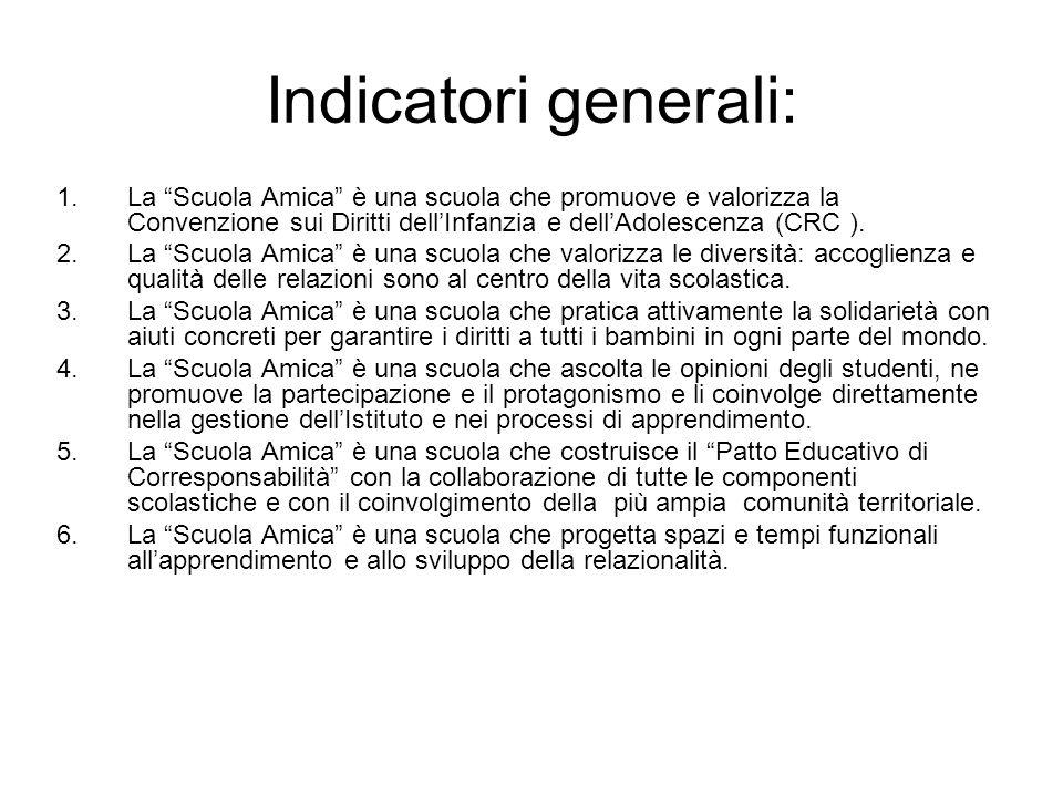 Indicatori generali: 1.La Scuola Amica è una scuola che promuove e valorizza la Convenzione sui Diritti dellInfanzia e dellAdolescenza (CRC ). 2.La Sc