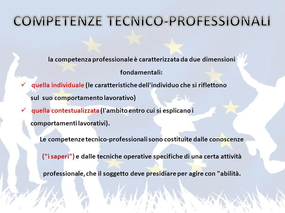 la competenza professionale è caratterizzata da due dimensioni fondamentali: quella individuale (le caratteristiche dell'individuo che si riflettono s