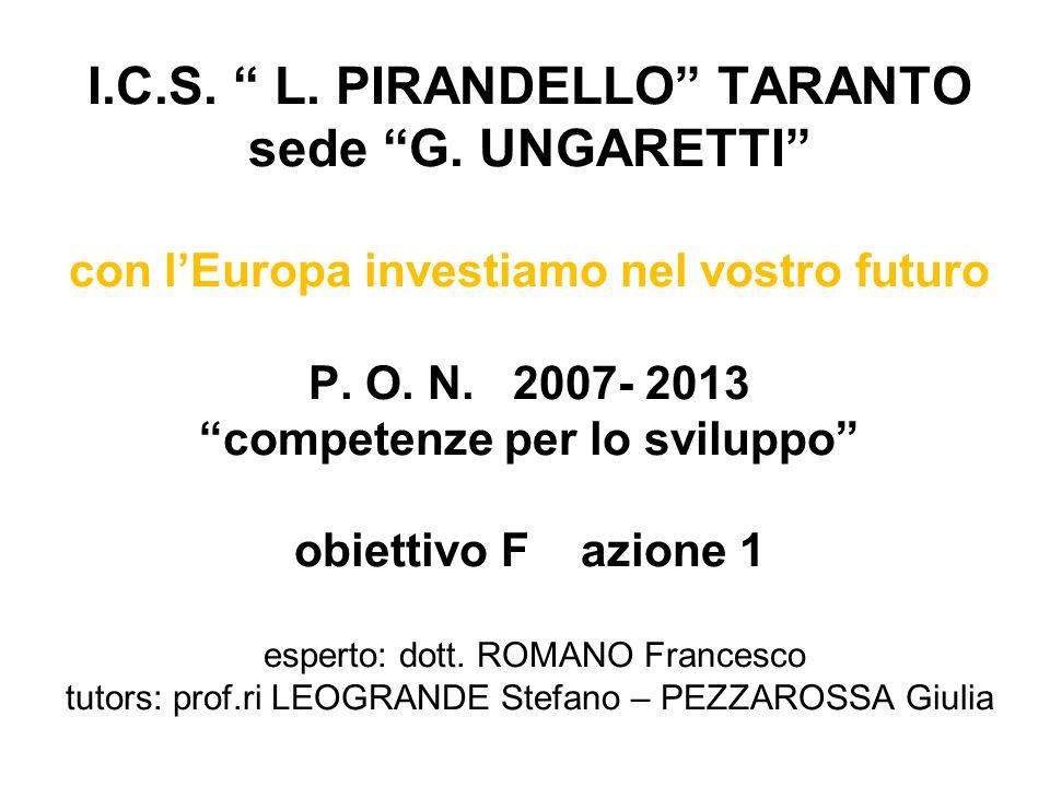I.C.S. L. PIRANDELLO TARANTO sede G. UNGARETTI con lEuropa investiamo nel vostro futuro P. O. N. 2007- 2013 competenze per lo sviluppo obiettivo F azi