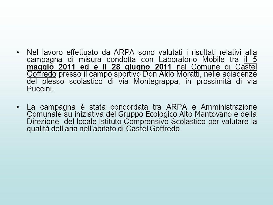 Nel lavoro effettuato da ARPA sono valutati i risultati relativi alla campagna di misura condotta con Laboratorio Mobile tra il 5 maggio 2011 ed e il