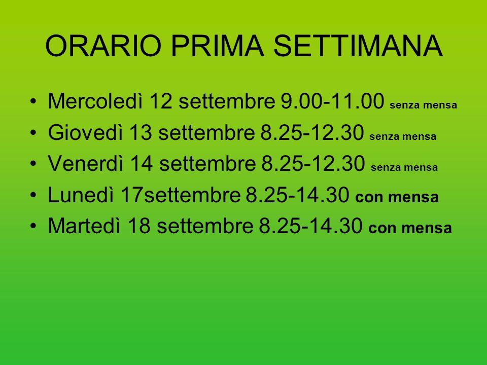 ORARIO PRIMA SETTIMANA Mercoledì 12 settembre 9.00-11.00 senza mensa Giovedì 13 settembre 8.25-12.30 senza mensa Venerdì 14 settembre 8.25-12.30 senza