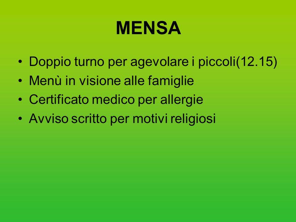 MENSA Doppio turno per agevolare i piccoli(12.15) Menù in visione alle famiglie Certificato medico per allergie Avviso scritto per motivi religiosi