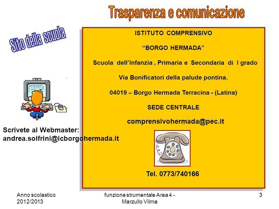 Anno scolastico 2012/2013 funzione strumentale Area 4 - Marzullo Vilma 3 ISTITUTO COMPRENSIVO BORGO HERMADA Scuola dellInfanzia, Primaria e Secondaria