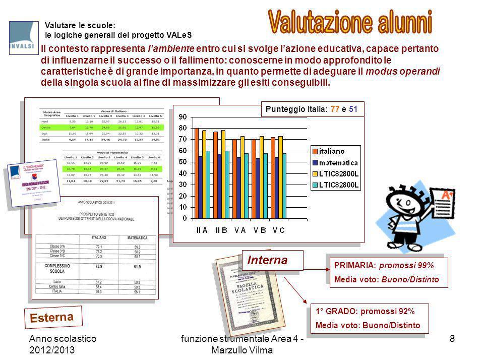 Anno scolastico 2012/2013 funzione strumentale Area 4 - Marzullo Vilma 8 Valutare le scuole: le logiche generali del progetto VALeS Il contesto rappre