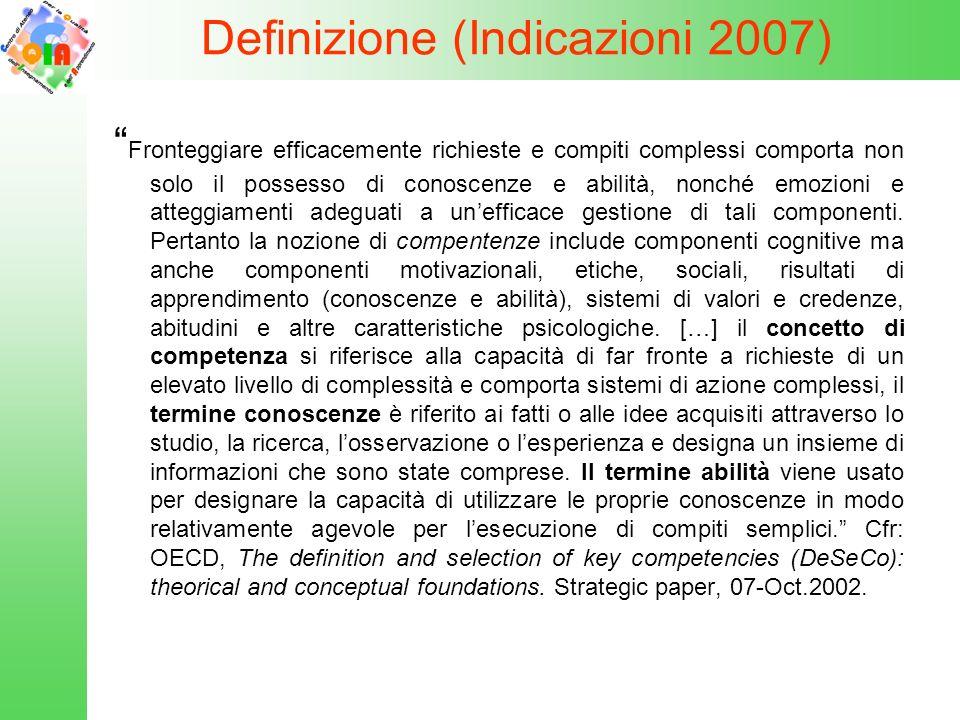 Definizione (Indicazioni 2007) Fronteggiare efficacemente richieste e compiti complessi comporta non solo il possesso di conoscenze e abilità, nonché