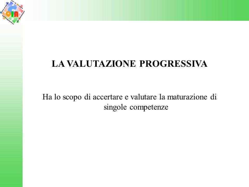 LA VALUTAZIONE PROGRESSIVA Ha lo scopo di accertare e valutare la maturazione di singole competenze