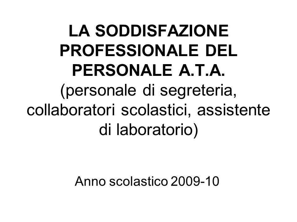 LA SODDISFAZIONE PROFESSIONALE DEL PERSONALE A.T.A.