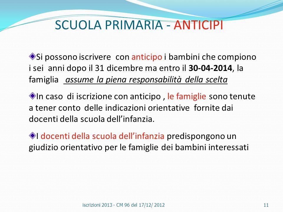 SCUOLA PRIMARIA - ANTICIPI iscrizioni 2013 - CM 96 del 17/12/ 201211 Si possono iscrivere con anticipo i bambini che compiono i sei anni dopo il 31 di