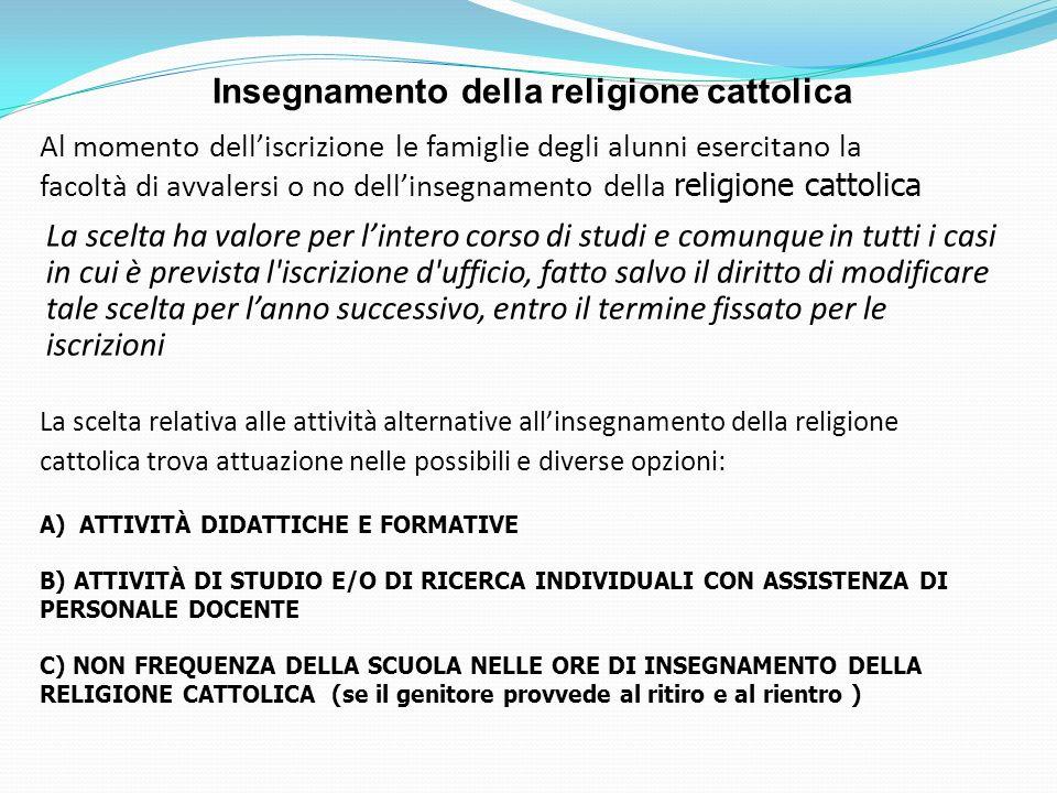 Al momento delliscrizione le famiglie degli alunni esercitano la facoltà di avvalersi o no dellinsegnamento della religione cattolica Insegnamento del