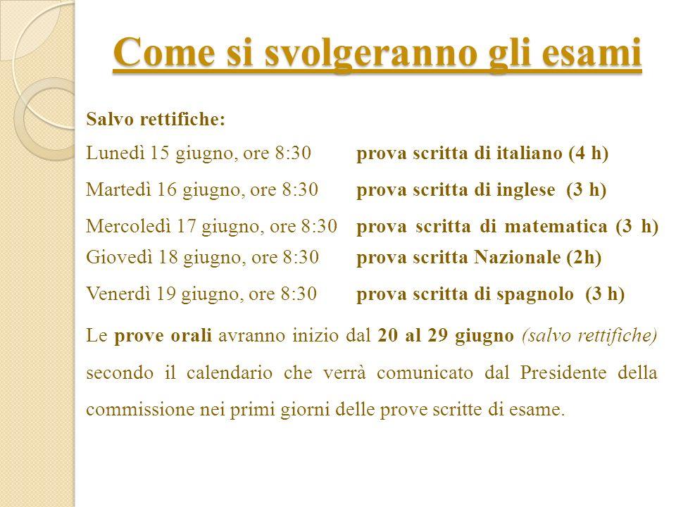 Come si svolgeranno gli esami Salvo rettifiche: Lunedì 15 giugno, ore 8:30prova scritta di italiano (4 h) Martedì 16 giugno, ore 8:30 prova scritta di