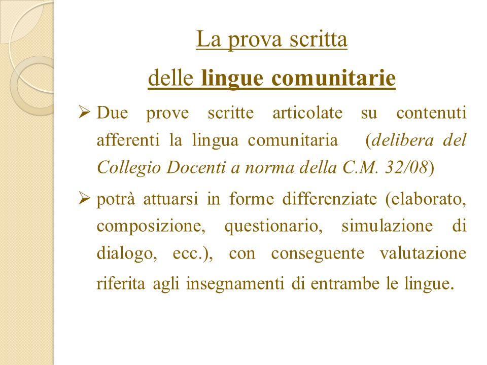 La prova scritta delle lingue comunitarie Due prove scritte articolate su contenuti afferenti la lingua comunitaria (delibera del Collegio Docenti a norma della C.M.