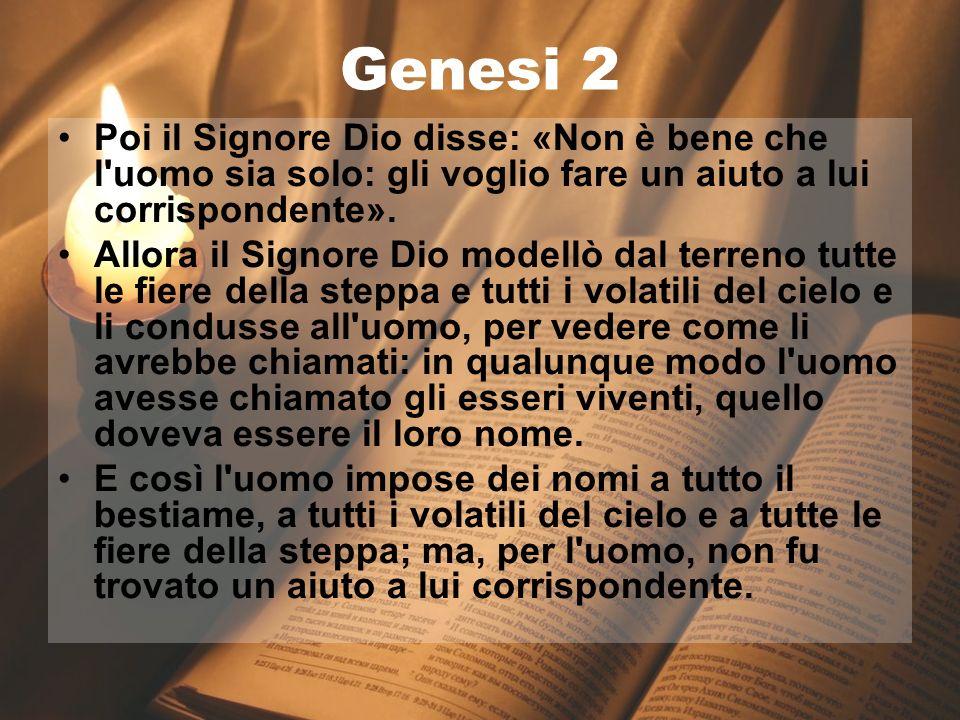 17 gennaio 2013 La Bibbia Genesi 2 Poi il Signore Dio disse: «Non è bene che l'uomo sia solo: gli voglio fare un aiuto a lui corrispondente». Allora i