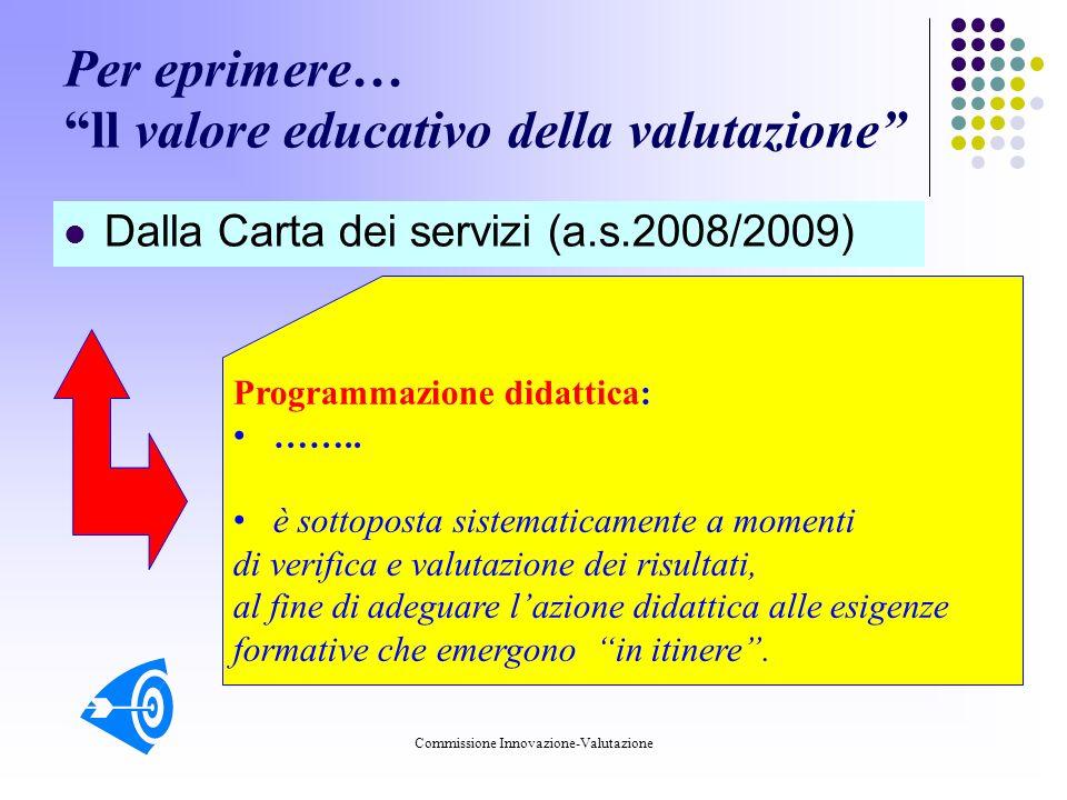 Commissione Innovazione-Valutazione Per eprimere… ll valore educativo della valutazione Dalla Carta dei servizi (a.s.2008/2009) Programmazione didattica: ……..