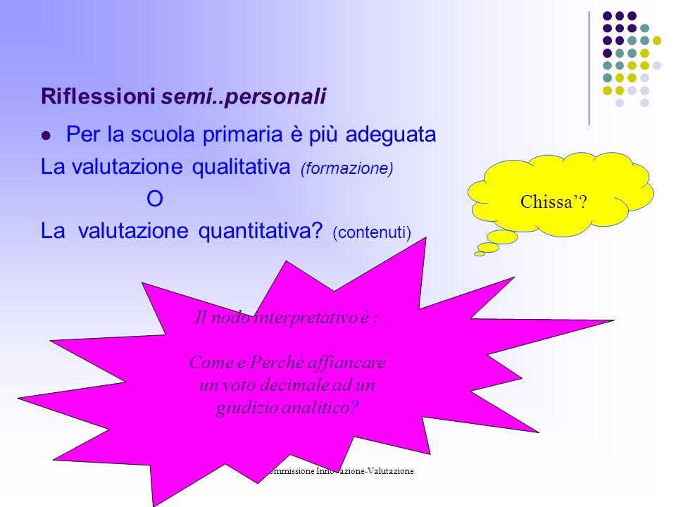 Commissione Innovazione-Valutazione Riflessioni semi..personali Per la scuola primaria è più adeguata La valutazione qualitativa (formazione) O La valutazione quantitativa.