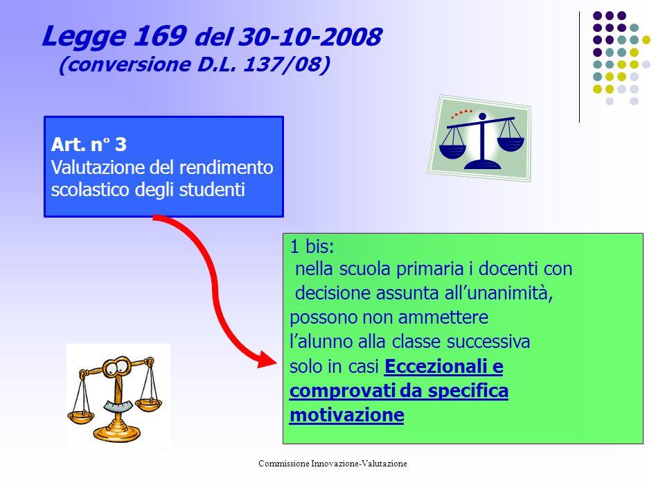 Commissione Innovazione-Valutazione Legge 169 del 30-10-2008 (conversione D.L.