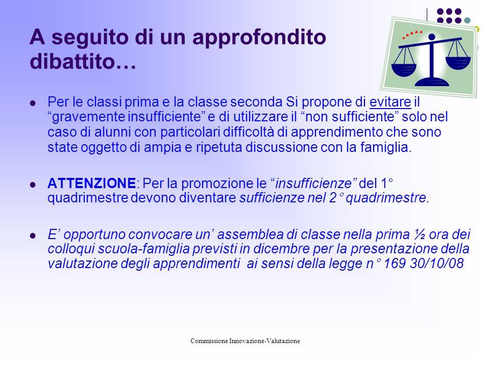 Commissione Innovazione-Valutazione Testo normativo Legge 169 del 30-10-2008 (conversione D.L.
