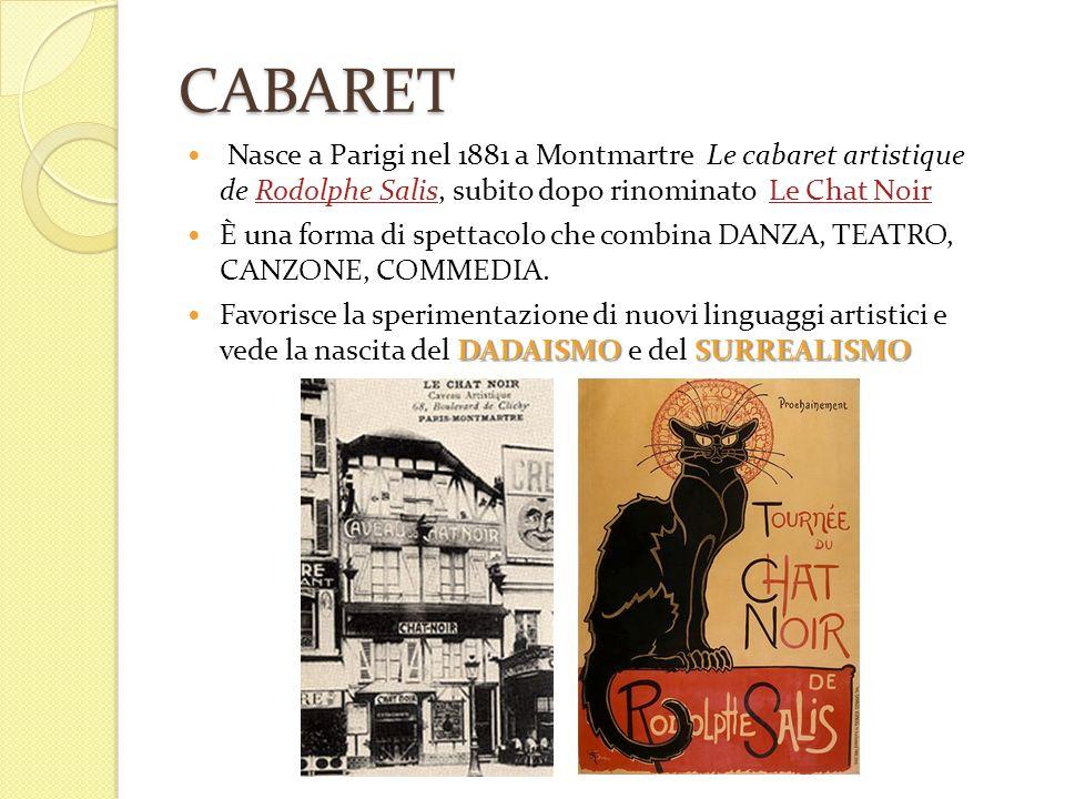 CABARET Nasce a Parigi nel 1881 a Montmartre Le cabaret artistique de Rodolphe Salis, subito dopo rinominato Le Chat NoirRodolphe SalisLe Chat Noir È