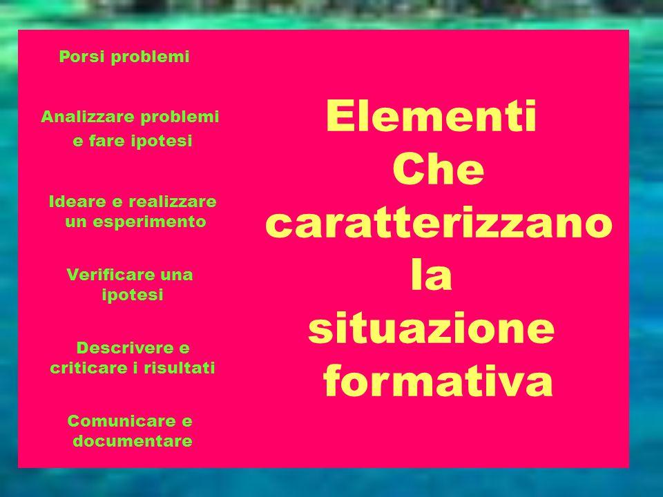 Porsi problemi Analizzare problemi e fare ipotesi Ideare e realizzare un esperimento Verificare una ipotesi Descrivere e criticare i risultati Comunic