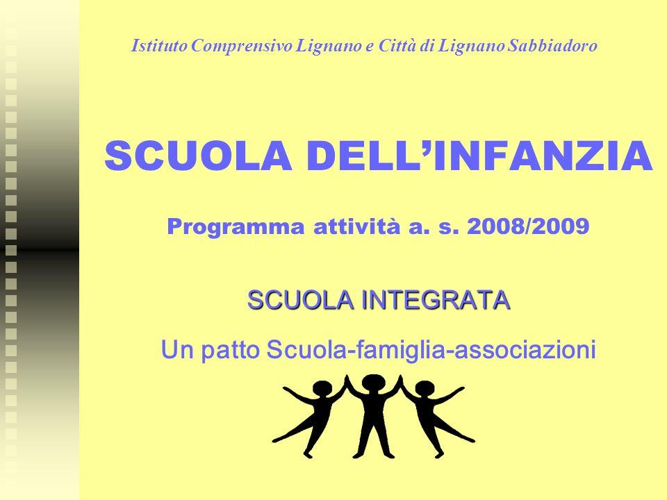 Istituto Comprensivo Lignano e Città di Lignano Sabbiadoro SCUOLA DELLINFANZIA Programma attività a. s. 2008/2009 SCUOLA INTEGRATA Un patto Scuola-fam