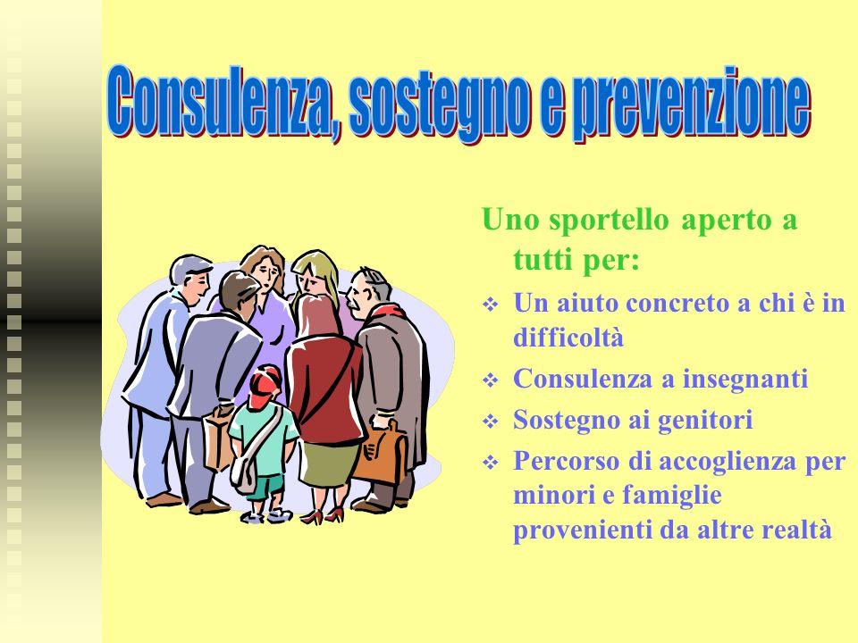 Uno sportello aperto a tutti per: Un aiuto concreto a chi è in difficoltà Consulenza a insegnanti Sostegno ai genitori Percorso di accoglienza per min