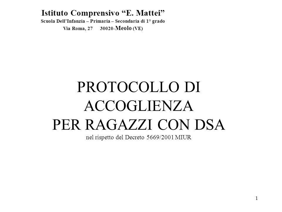 1 PROTOCOLLO DI ACCOGLIENZA PER RAGAZZI CON DSA nel rispetto del Decreto 5669/2001 MIUR Istituto Comprensivo E.
