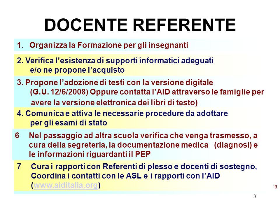 3 DOCENTE REFERENTE 5. 1. Organizza la Formazione per gli insegnanti 2.