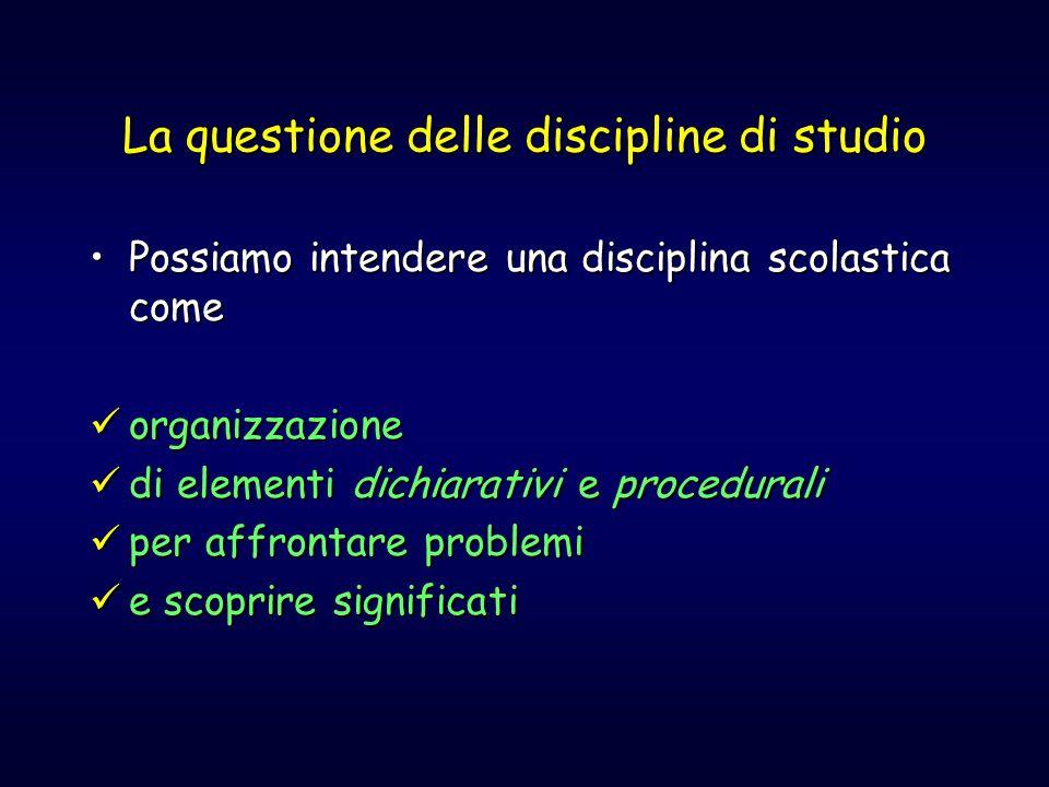La questione delle discipline di studio Possiamo intendere una disciplina scolastica comePossiamo intendere una disciplina scolastica come organizzazi