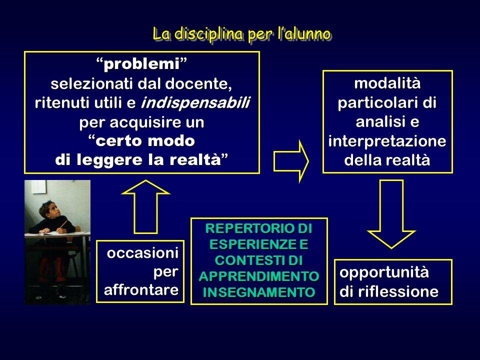 problemi selezionati dal docente, ritenuti utili e indispensabili per acquisire un certo modo di leggere la realtà problemi selezionati dal docente, r