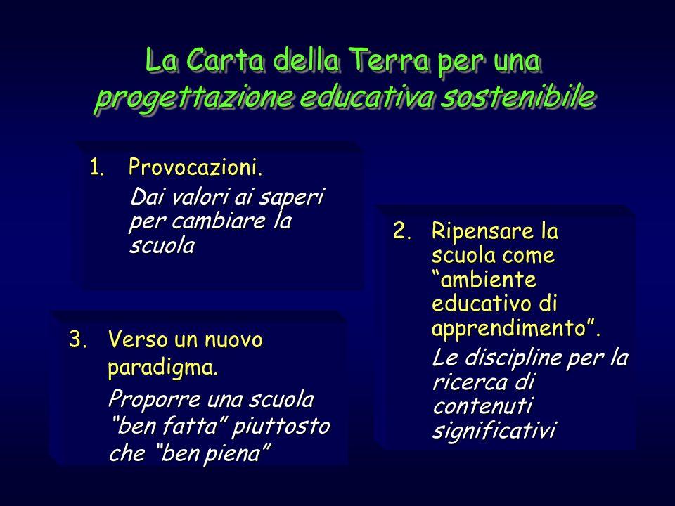 La Carta della Terra per una progettazione educativa sostenibile 1.Provocazioni. Dai valori ai saperi per cambiare la scuola 2.Ripensare la scuola com