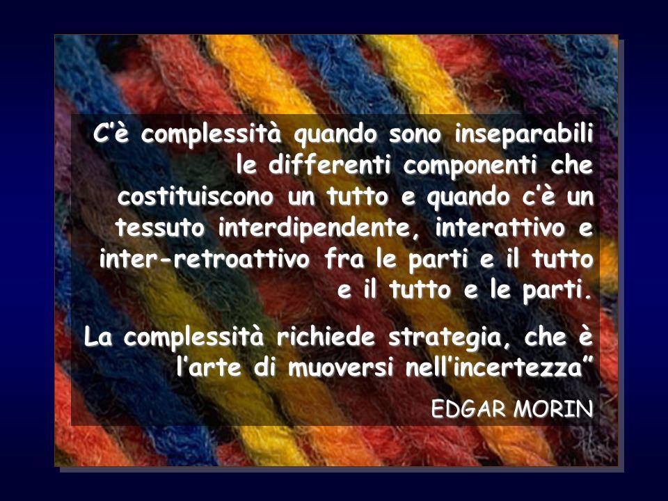 Cè complessità quando sono inseparabili le differenti componenti che costituiscono un tutto e quando cè un tessuto interdipendente, interattivo e inte