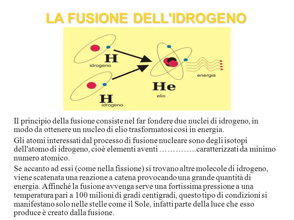 Il principio della fusione consiste nel far fondere due nuclei di idrogeno, in modo da ottenere un nucleo di elio trasformatosi così in energia. Gli a