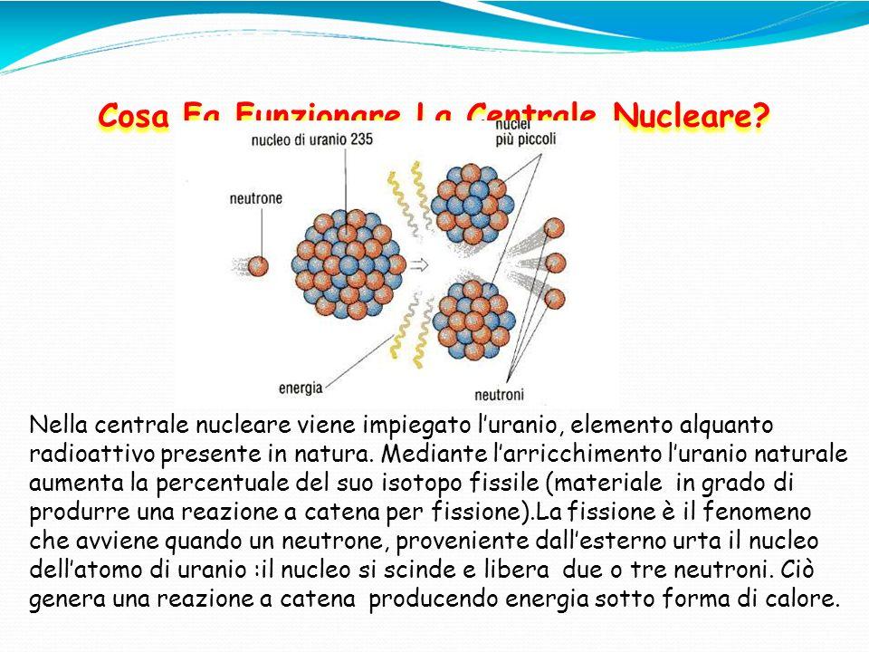 Cosa Fa Funzionare La Centrale Nucleare? Nella centrale nucleare viene impiegato luranio, elemento alquanto radioattivo presente in natura. Mediante l