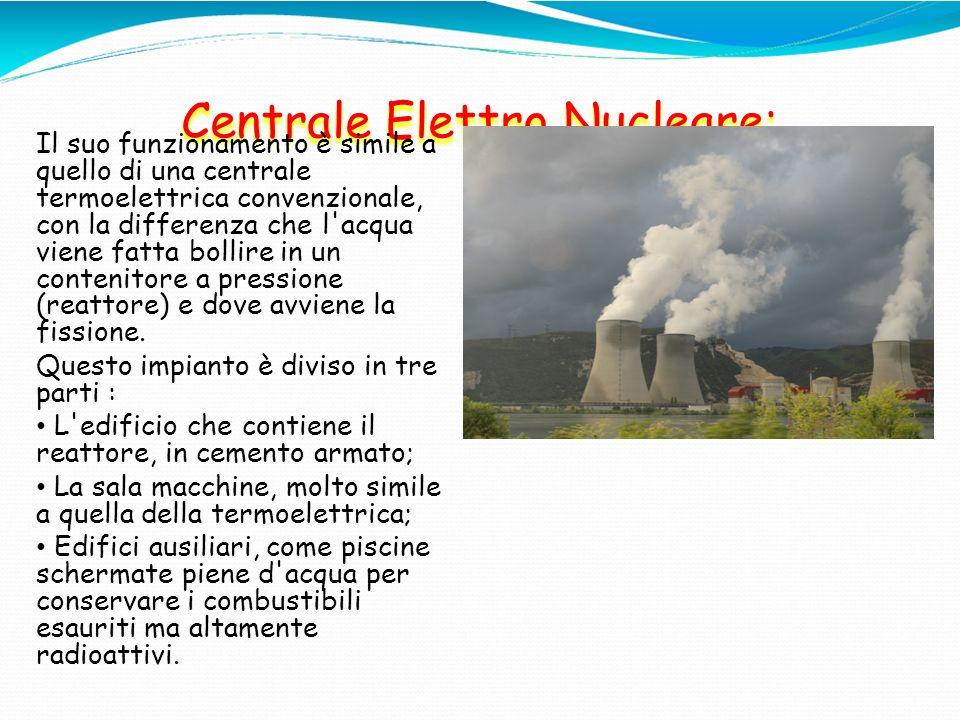 Centrale Elettro Nucleare: Il suo funzionamento è simile a quello di una centrale termoelettrica convenzionale, con la differenza che l'acqua viene fa