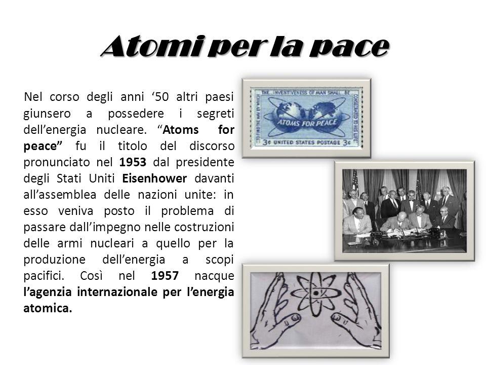Atomi per la pace Nel corso degli anni 50 altri paesi giunsero a possedere i segreti dellenergia nucleare. Atoms for peace fu il titolo del discorso p