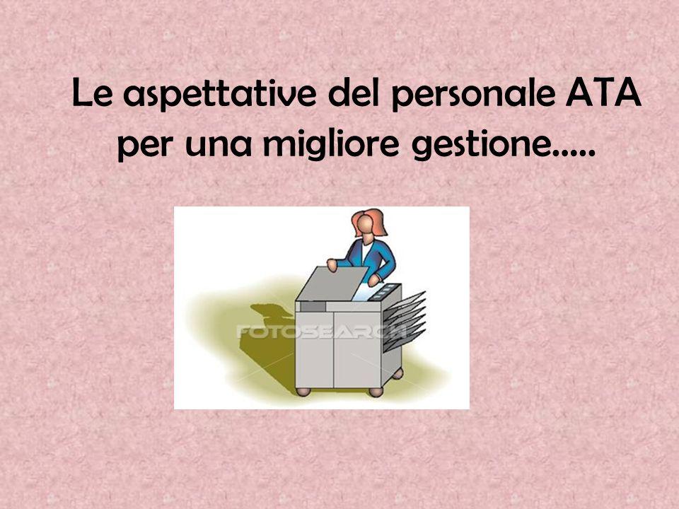 Le aspettative del personale ATA per una migliore gestione…..