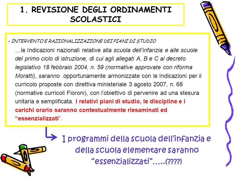 …le Indicazioni nazionali relative alla scuola dellinfanzia e alle scuole del primo ciclo di istruzione, di cui agli allegati A, B e C al decreto legi
