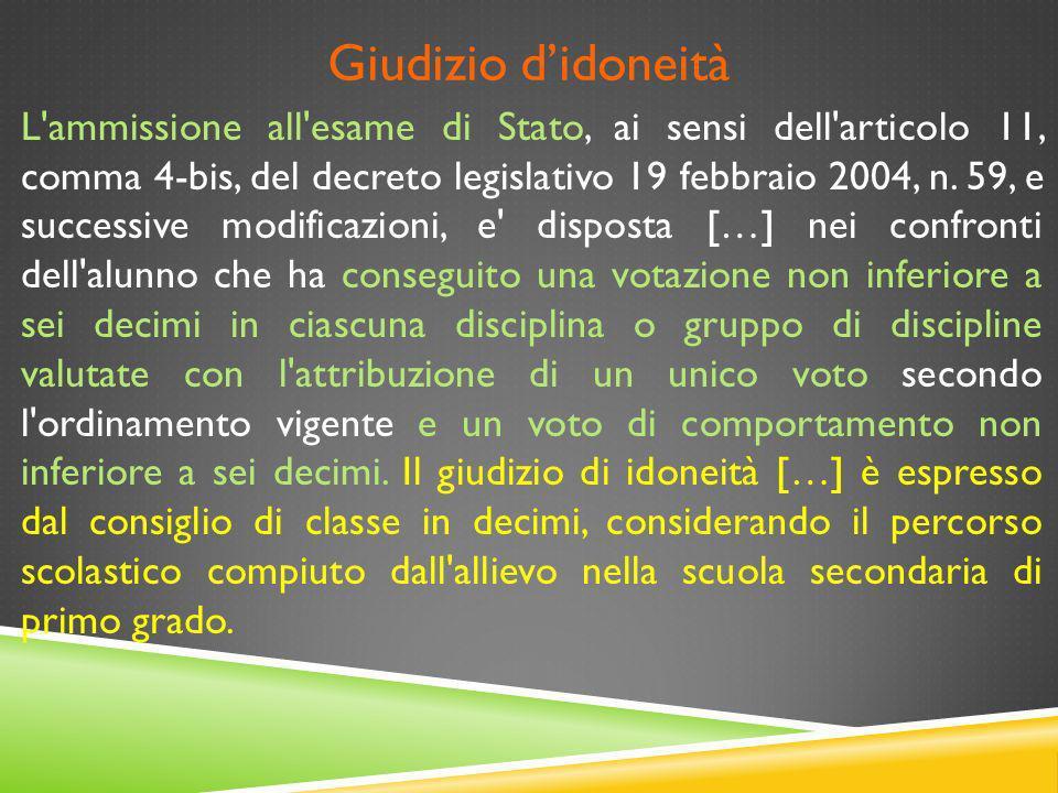 Giudizio didoneità L'ammissione all'esame di Stato, ai sensi dell'articolo 11, comma 4-bis, del decreto legislativo 19 febbraio 2004, n. 59, e success