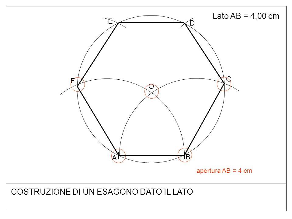 Lato AB = 4,00 cm COSTRUZIONE DI UN ESAGONO DATO IL LATO B A O F C D E apertura AB = 4 cm