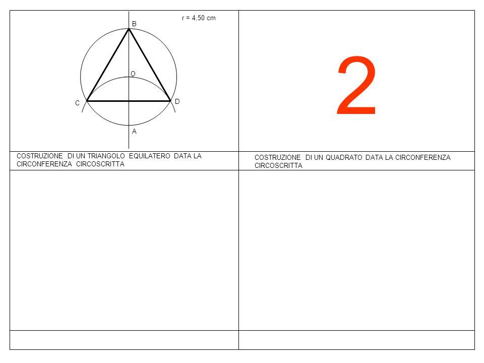 2 COSTRUZIONE DI UN QUADRATO DATA LA CIRCONFERENZA CIRCOSCRITTA r = 4,50 cm COSTRUZIONE DI UN TRIANGOLO EQUILATERO DATA LA CIRCONFERENZA CIRCOSCRITTA