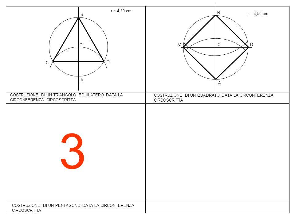 3 COSTRUZIONE DI UN PENTAGONO DATA LA CIRCONFERENZA CIRCOSCRITTA r = 4,50 cm COSTRUZIONE DI UN TRIANGOLO EQUILATERO DATA LA CIRCONFERENZA CIRCOSCRITTA