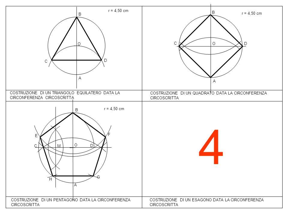 4 COSTRUZIONE DI UN ESAGONO DATA LA CIRCONFERENZA CIRCOSCRITTA r = 4,50 cm COSTRUZIONE DI UN TRIANGOLO EQUILATERO DATA LA CIRCONFERENZA CIRCOSCRITTA A