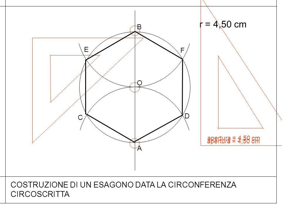 A apertura = 4,50 cm COSTRUZIONE DI UN ESAGONO DATA LA CIRCONFERENZA CIRCOSCRITTA O B C F D apertura = 4,50 cm E