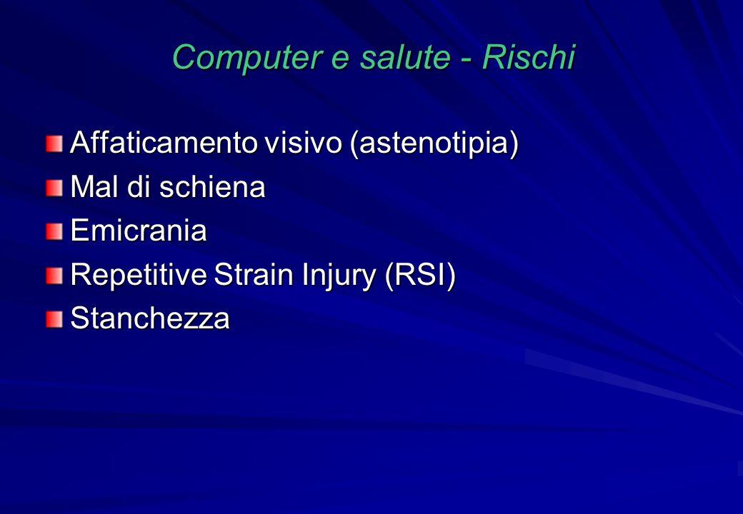 Computer e salute - Rischi Affaticamento visivo (astenotipia) Mal di schiena Emicrania Repetitive Strain Injury (RSI) Stanchezza