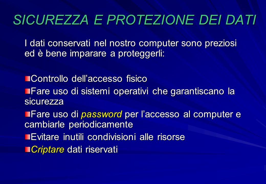 I dati conservati nel nostro computer sono preziosi ed è bene imparare a proteggerli: Controllo dellaccesso fisico Fare uso di sistemi operativi che g