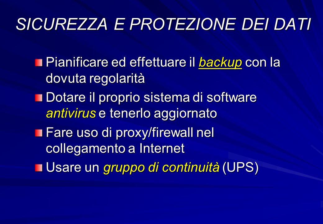 Pianificare ed effettuare il backup con la dovuta regolarità Dotare il proprio sistema di software antivirus e tenerlo aggiornato Fare uso di proxy/fi