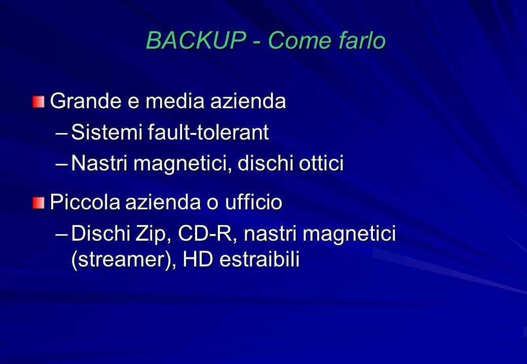 BACKUP - Come farlo Grande e media azienda –Sistemi fault-tolerant –Nastri magnetici, dischi ottici Piccola azienda o ufficio –Dischi Zip, CD-R, nastr
