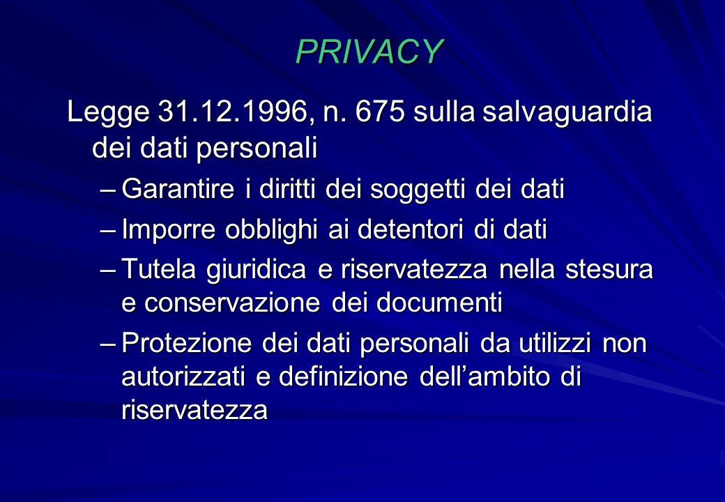 PRIVACY Legge 31.12.1996, n. 675 sulla salvaguardia dei dati personali –Garantire i diritti dei soggetti dei dati –Imporre obblighi ai detentori di da