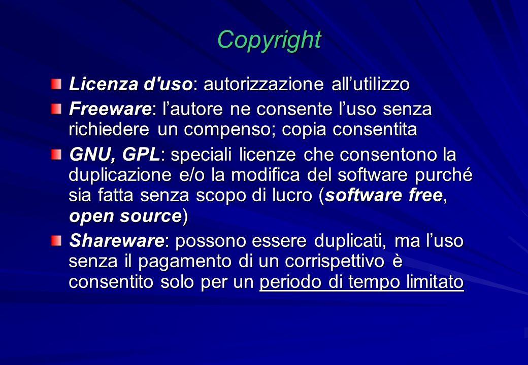 Copyright Licenza d'uso: autorizzazione allutilizzo Freeware: lautore ne consente luso senza richiedere un compenso; copia consentita GNU, GPL: specia