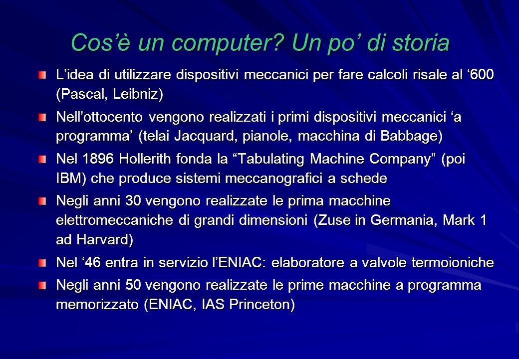 Cosè un computer? Un po di storia Lidea di utilizzare dispositivi meccanici per fare calcoli risale al 600 (Pascal, Leibniz) Nellottocento vengono rea