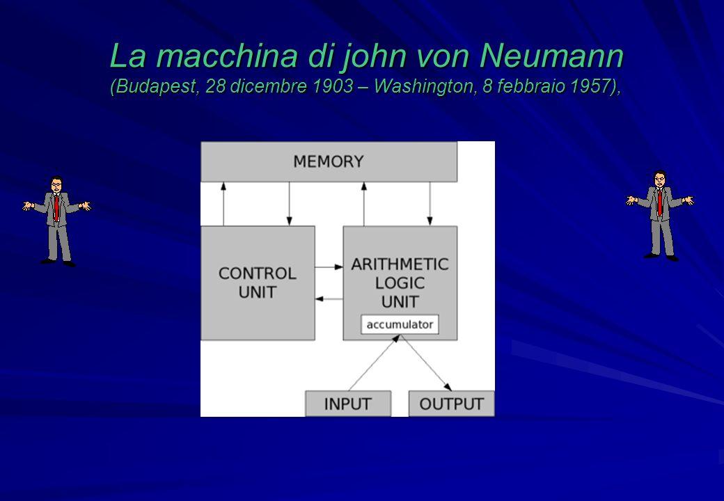 La macchina di john von Neumann (Budapest, 28 dicembre 1903 – Washington, 8 febbraio 1957),